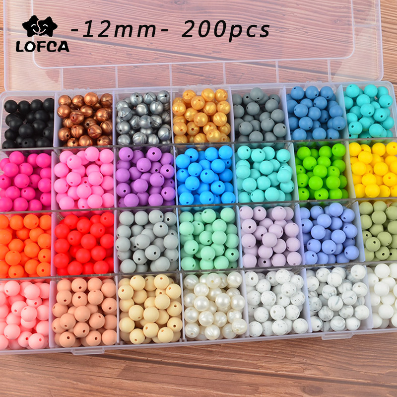 LOFCA 200pcs Silicone Beads 12mm Round Loose Beads Wholesale Food Grade Teether Care DIY For Baby Toys BPA Free Chew Jewelry