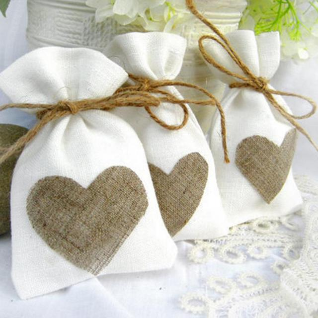10x14cm Trendy White Natural Linen Drawstring Wedding Favor Bags Pouch Heart Shape Gift Jewelry