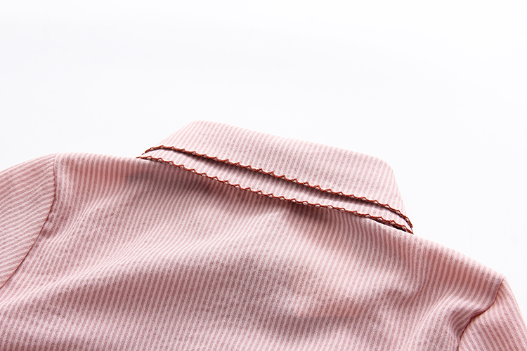 Ruffles Striped Bow Flare Long Sleeve Chiffon Blouse Shirt 12
