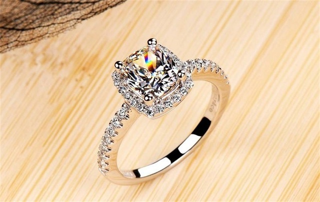 925 Sterling Silver Bridal Wedding White Gold Color Ring 2