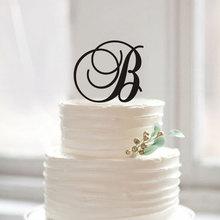 Персонализированные письма B торт Топпер, монограмма B акриловые торт Топпер для детей деревенский душа ребенка день рождения украшения поставки