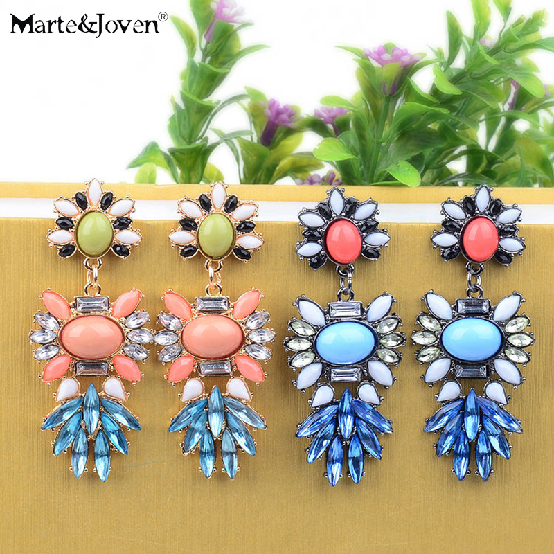 Earrings Marte&joven Oval Vintage Designer Big Brand Jewelry Colorful Acrylic Flower Dangle Earrings For Women To Ensure A Like-New Appearance Indefinably