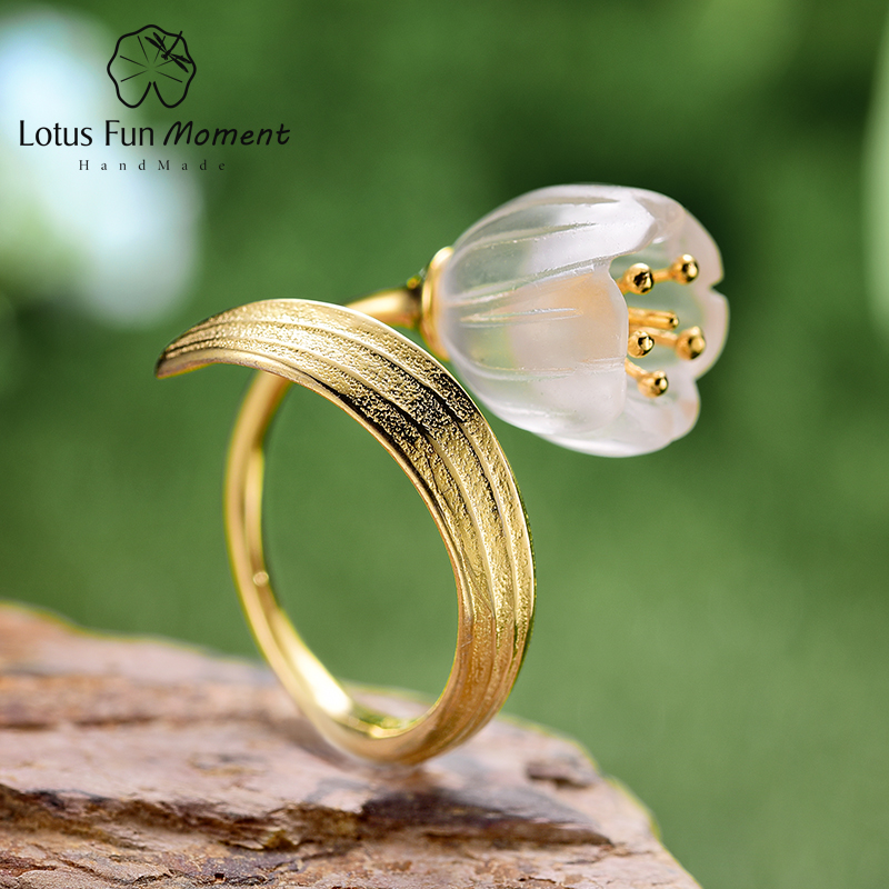Lotus Fun Moment Real 925 Sterling Silver Natural Crystal Stone Fashion Jewelry Gold  Lily of the Valley Flower Rings For Women