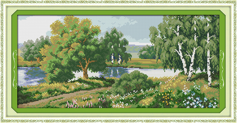 The trees along the river Counted Cross Stitch 11CT Printed 14CT Set DIY Chinese Cotton  ...