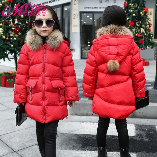 Meninas Casaco de inverno 2016 Novas Crianças Jaqueta de inverno grande virgem longa seção de algodão casaco quente garoto Acolchoado Grosso Outwear atacado