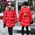 Niñas Abrigo de invierno 2016 Nuevos Niños Chaqueta de invierno grandes vírgenes cabrito chaqueta Gruesa Acolchada larga sección de algodón caliente Outwear al por mayor