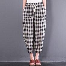 05cc6a7c4b05a ZANZEA Femmes Vintage Taille Élastique Lâche Vérifier Plaid Pantalon Long  Casual Lace UP Coton Linge Baggy Crayon Pantalon de Ha.