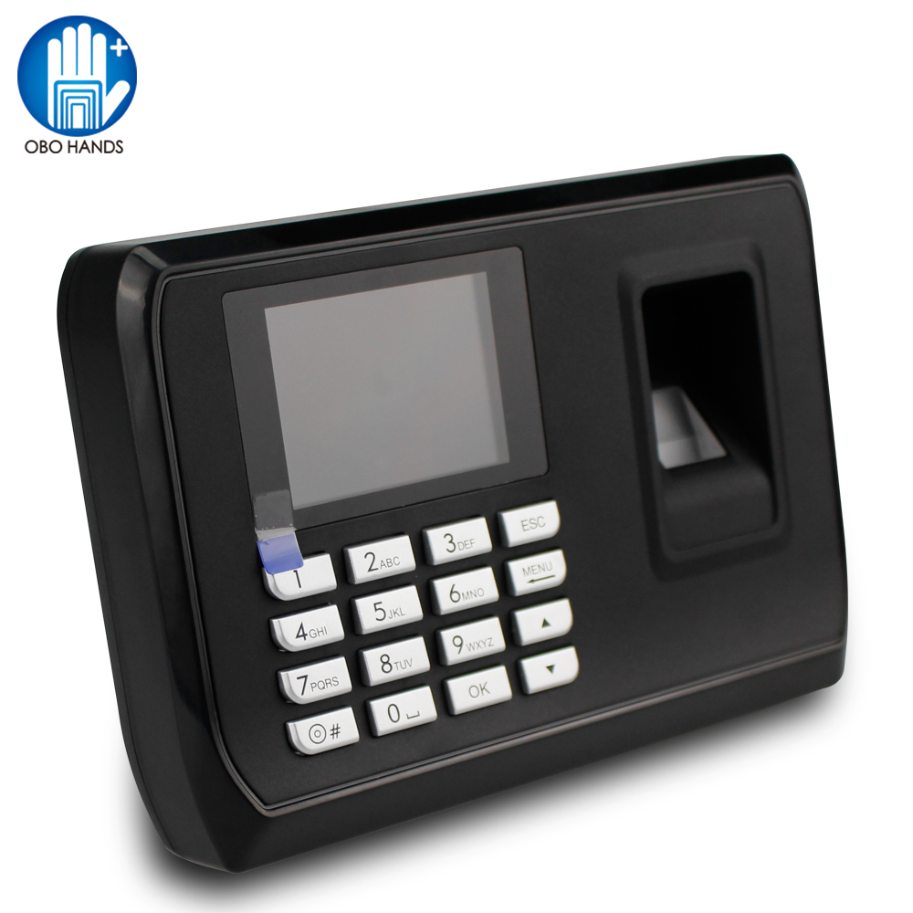 US $29 98 15% OFF|2 4 inch Biometric Fingerprint attendance machine USB  Time Card locker finger scanner free software access control password  lock-in