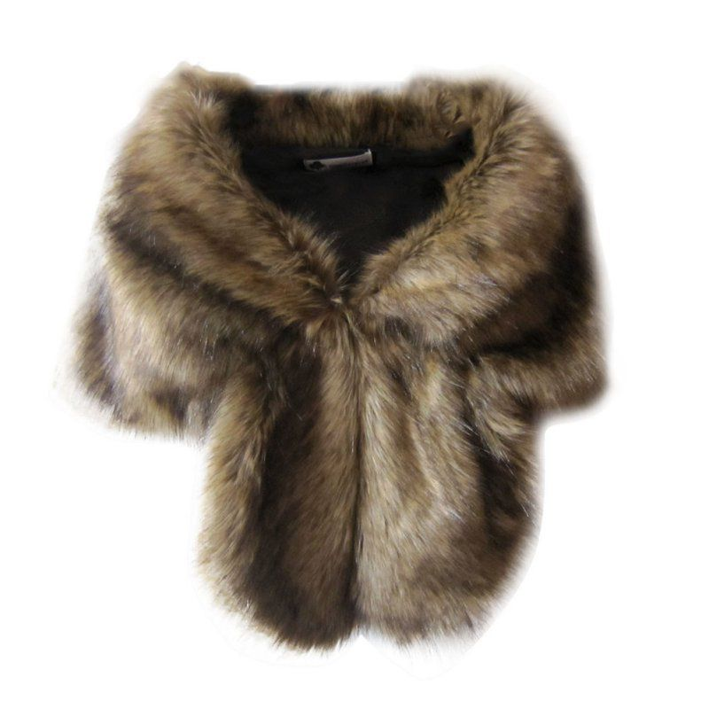 Faux Fur Wedding Coats Winter Warm Jacket Women Shrug Shawl Outerwear Lady Cape Daily Wear
