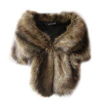 Faux Fur düğün palto kış sıcak ceket kadın omuz silkme şal giyim bayan pelerin günlük giyim