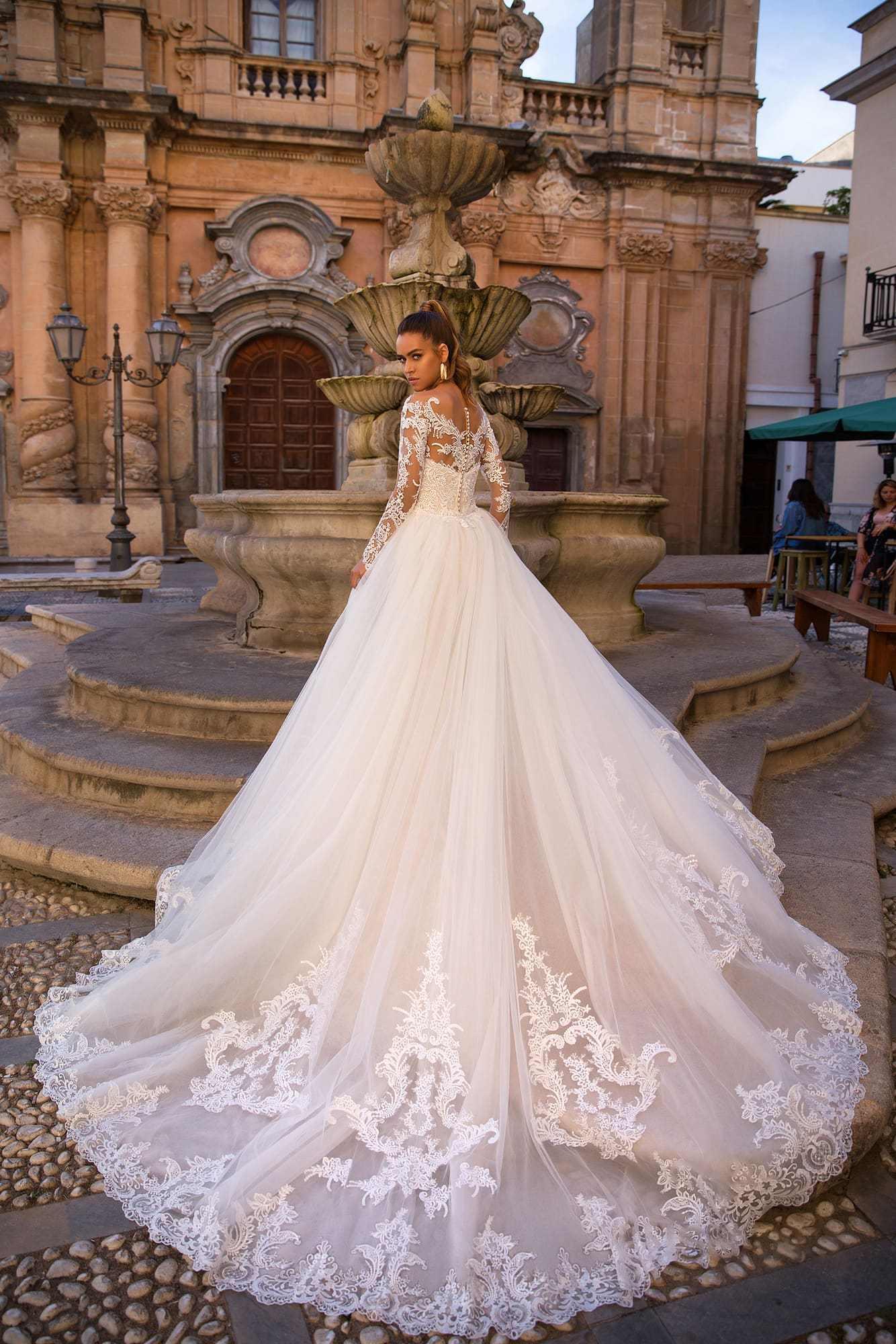 בת ים שמלות כלה עם נתיק רכבת 2020 אשליה מחשוף ארוך שרוול תחרה חתונה שמלת כלה שמלות