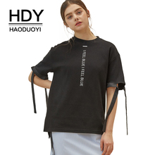 HDY Haoduoyi Women Loose Vertical Letters Print Bow Tie Cuff T Shirt Preppy Style O Neck Half Sleeve Side Split Tees цена и фото