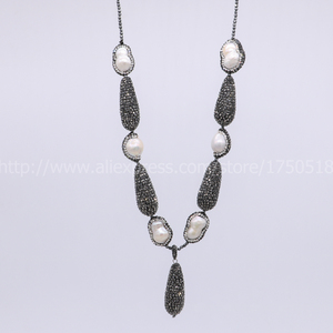 Image 3 - Hot! Bohemia necklace Natural pearl handcrafted druzy necklace & natural 2mm hematite necklace black drop shape bead pendant 700