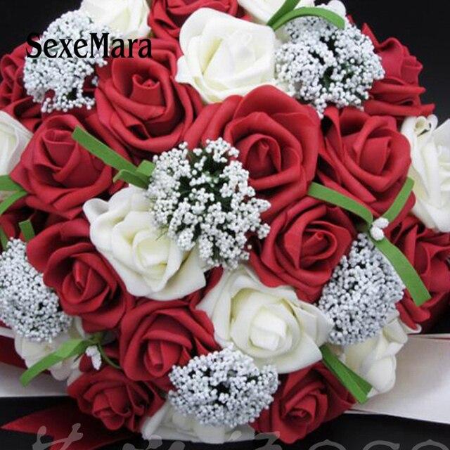 aliexpress com buy bouquet red rose bouquet white wedding bouquets