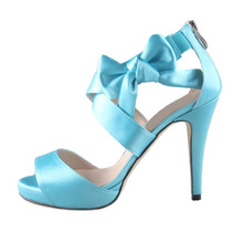 Sweet bow water ice light blue turequoise cross band woman sandal heels bridal wedding party prom cocktail satin dress shoes