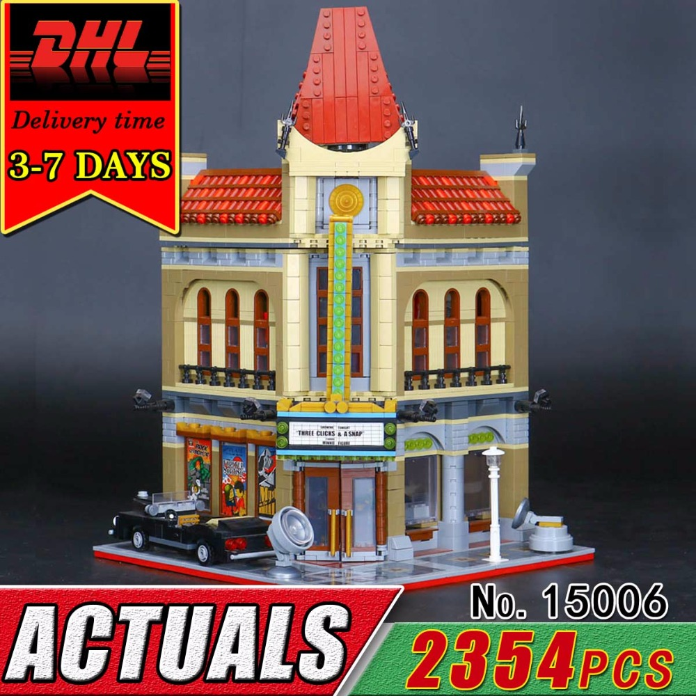DHL LEPIN 15006 Palace Cinema Model City Building Blocks Set Compatible 10232 Bricks Children Educational Classic Toys Kids Gift hot sembo block compatible lepin architecture city building blocks led light bricks apple flagship store toys for children gift