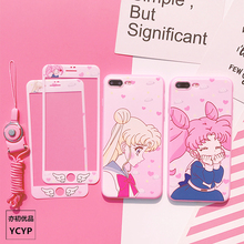For iPhone XS max XR Sailor moon case front tempered glass screen sticker For iPhone X