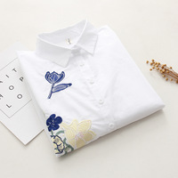 Solid Embroidered Blouse Designs Collar Long Sleeve Shirt White Leisure Render Unlined Upper Garment Sweet Autumn