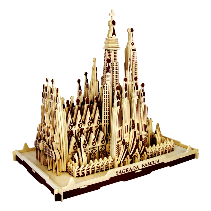 лучшая цена 3d Wooden Puzzle Children's And Adult Model The Sagrada Familia A Kids Toy Of The Famous Building Series