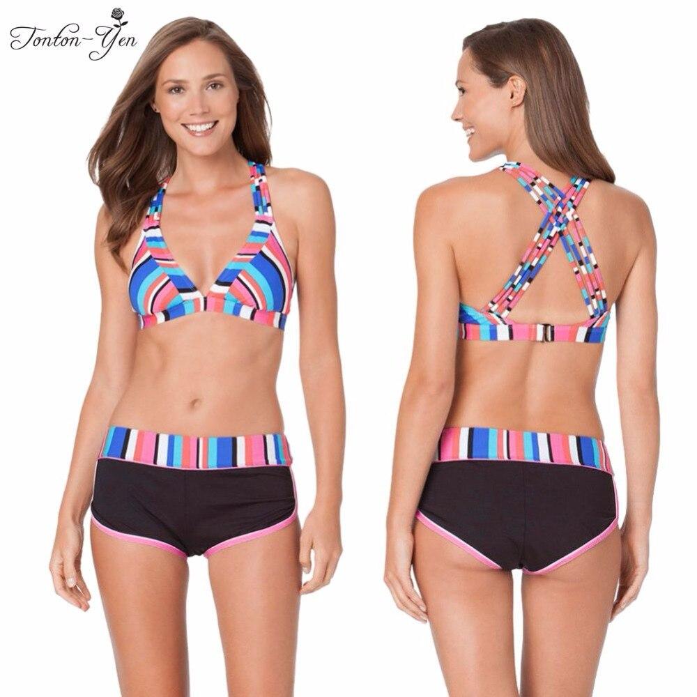 2017 new sexy bikinis costume da bagno donna stampa shorts costumi da bagno nuotare halter push