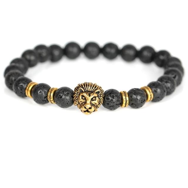 Men Special Design Matte/Lava Stone Natural Strand Bracelet Budget Friendly Accessories