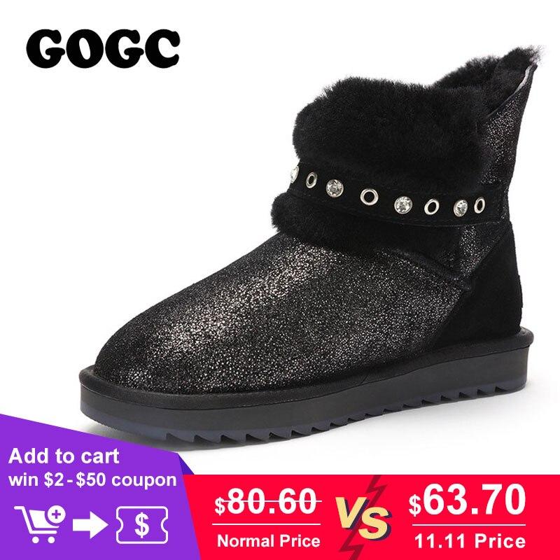 GOGC Glitter 100% Genuino Stivaletti di Pelle Stivali Delle Donne di  Cristallo Foderato Di Pelliccia e7cc2d524a6
