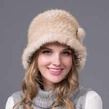 real natural mink fur hat knitted mink hat 2016 new good quality fur hat women winter