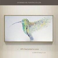 מיומנויות גבוהה ציפור עיצוב אופנה טהור שצויר ביד אמן ציור שמן מודרני מופשט ציור שמן על בד Hummingbird