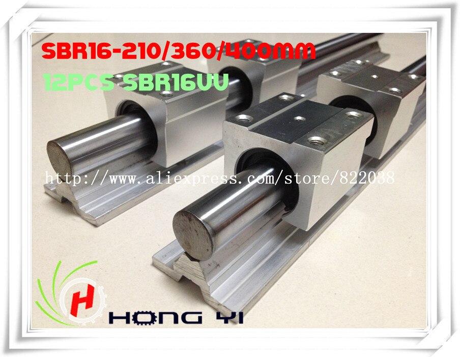Free Shipping 2 x (SBR16-210 / SBR16-360 / SBR16-400 MM ) Linear Rail Support Rod Guides &12 SBR16UU Bearing free shipping 2pcs sbr16 linear guides l 1000mm linear shaft rail support 4pcs sbr16uu linear bearing blocks