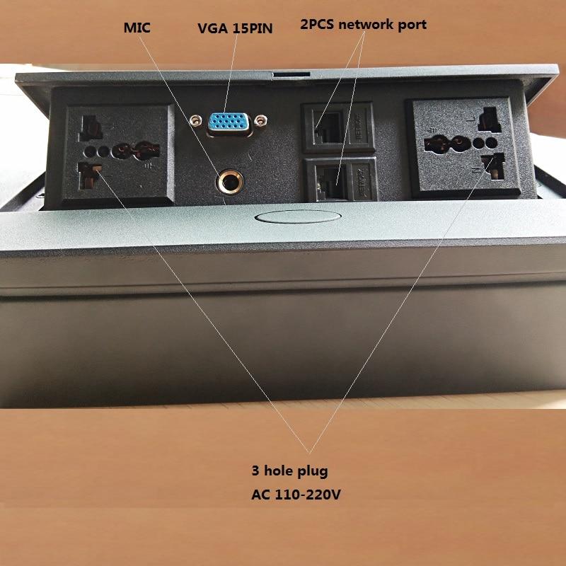 Panneau de prise en alliage d'aluminium de boîte de jonction de socke de bureau de prise intelligente Pop-up avec la prise d'extension de réseau de MIC VGA - 2