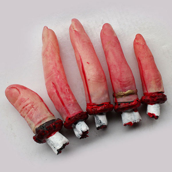 5pcs one hand terrible severed fingers halloween prop bloody chop body parts party accessories hot sale - Cheap Halloween Props