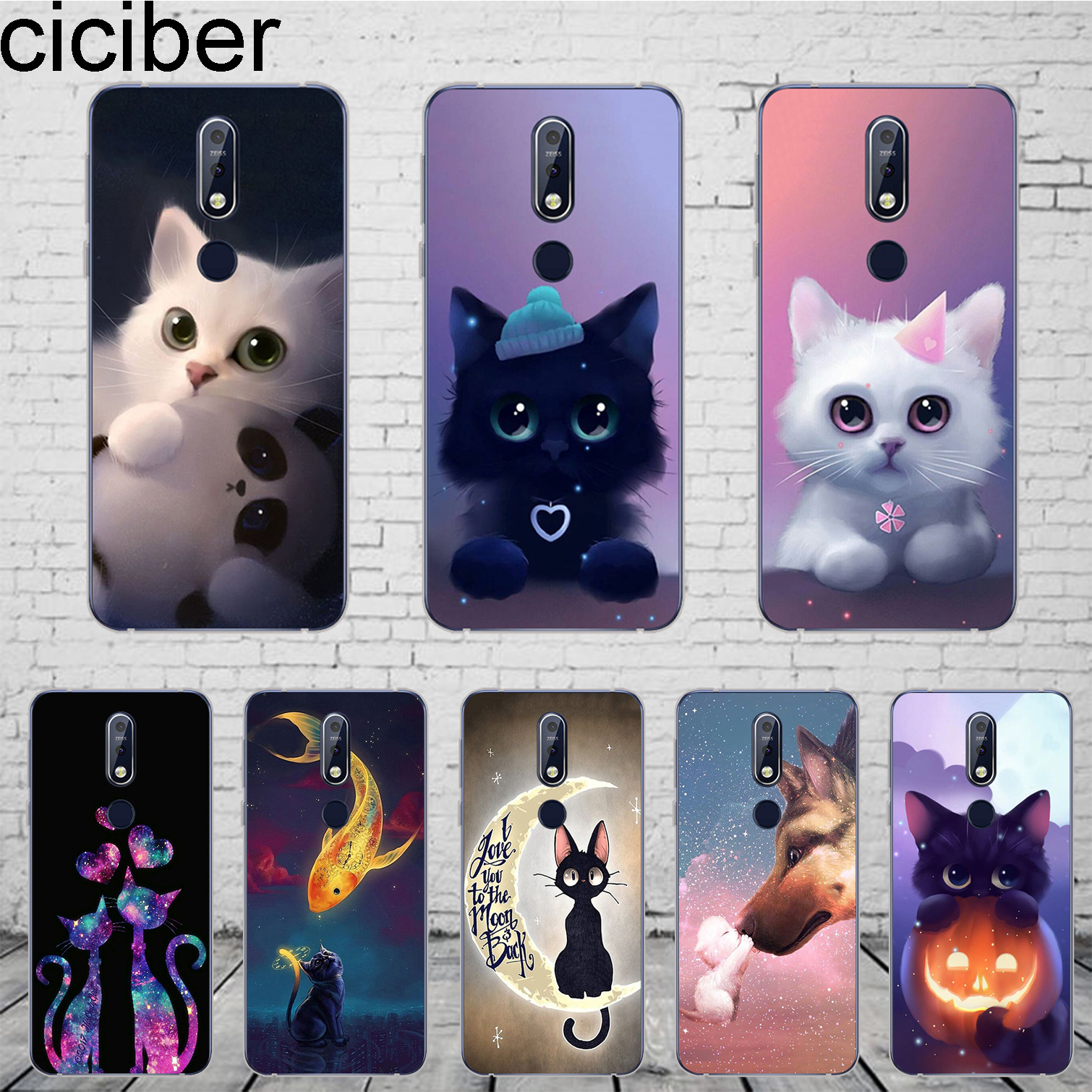 ciciber Cute Animal Cat Cover For <font><b>Nokia</b></font> 8 7 7.1 6 6.1 5 <font><b>5.1</b></font> 3 3.1 2 2 Plus 9 PureView <font><b>Phone</b></font> <font><b>Case</b></font> For <font><b>Nokia</b></font> X7 X6 X5 X3 Soft TPU image