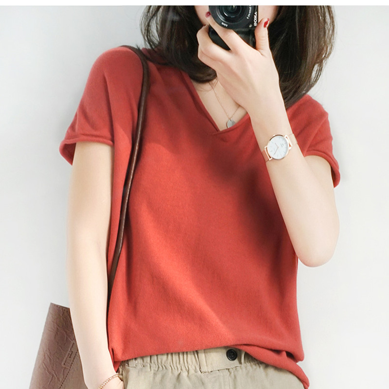 Smepvrg 100% Cotton Women Knitted Female Pullover Short Sleeve V-neck Women Sweater Pull Femme Knitted Pullover Female Jumpers