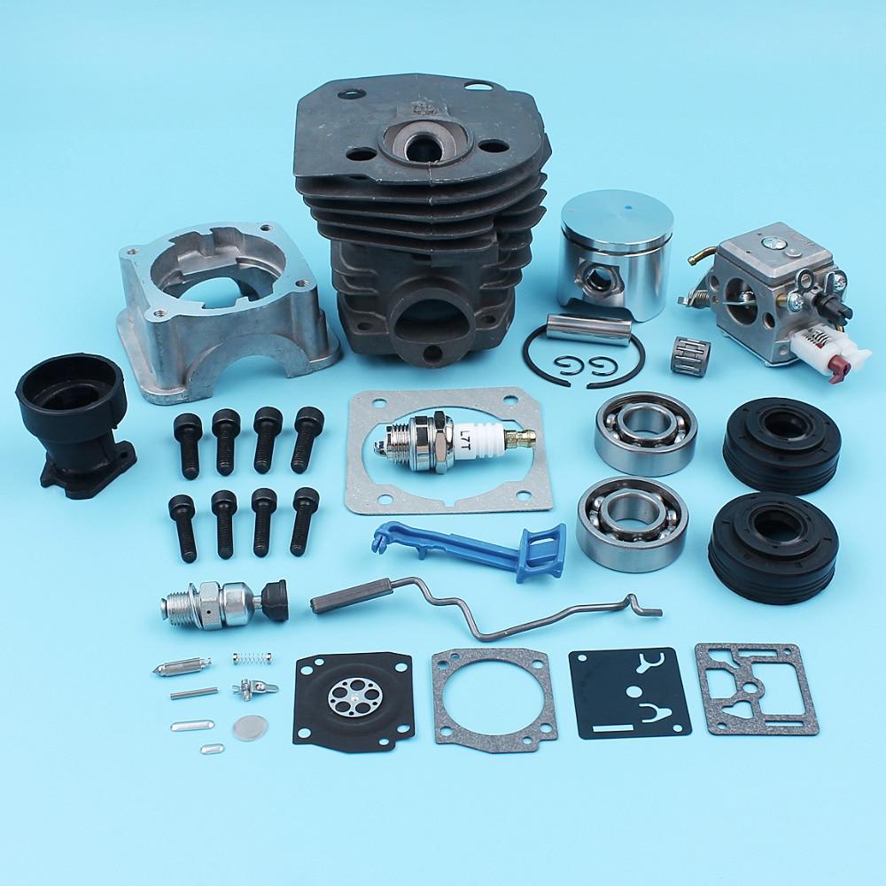Cylinder Piston Engine Pan Crank Bearing Oil Seal Carburetor Kit For Husqvarna 350 346 345 351 353 340 (44mm) Intake Boot Lever все цены