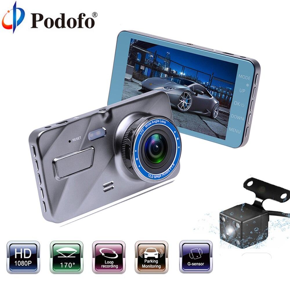 Podofo Car DVR Auto Camera Dashcam 4IPS Dual Lens Cars Dvrs FHD 1080P Video Registrator Recorder G-sensor Night Vision Dash Cam цена