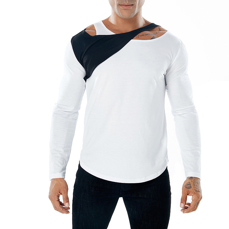 Mens autumn winter solid color fashion tshirts design color matching long sleeves T-shirt clothing male tops 3colour