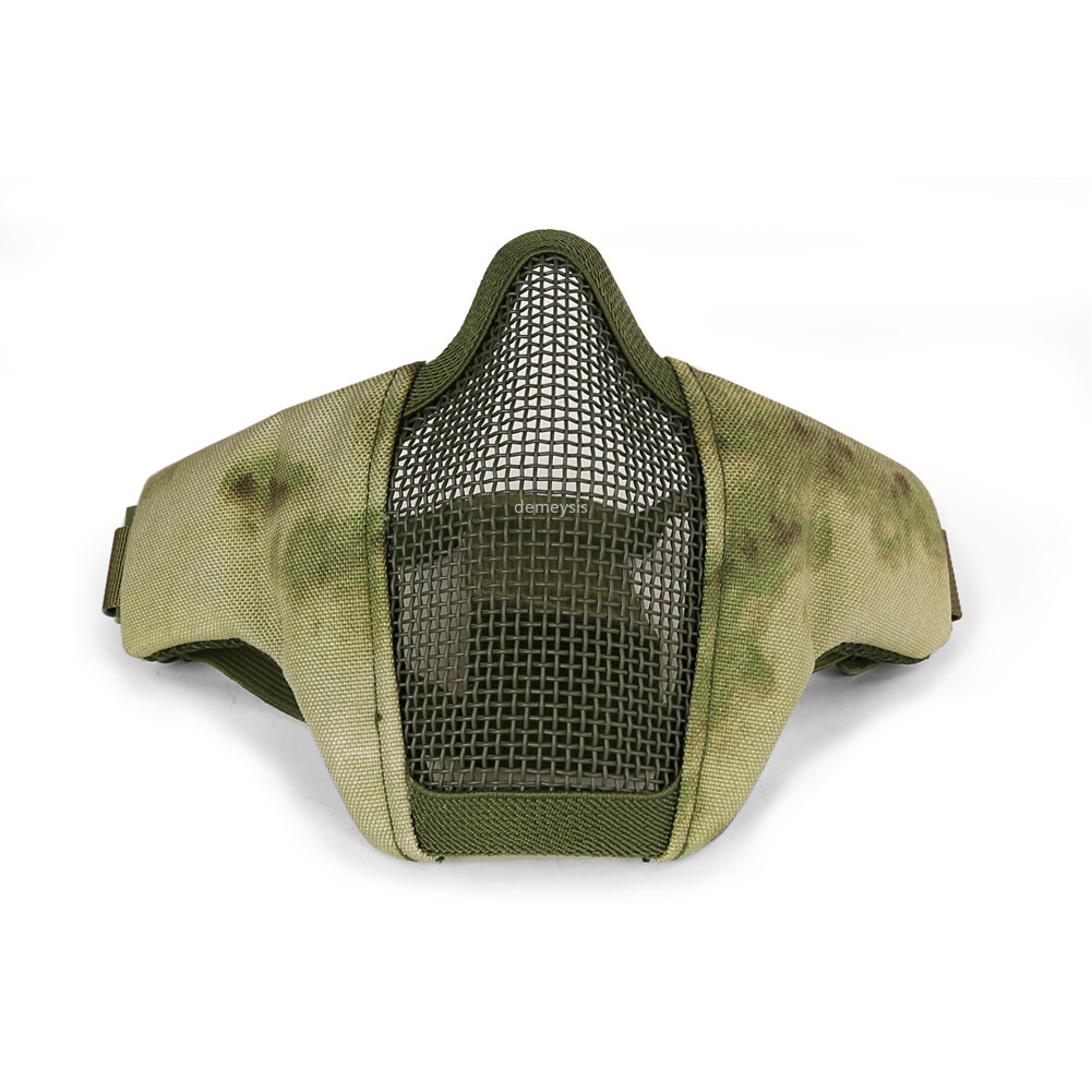 Half Face Protective Mask CS Camouflage Tactical Outdoor Hunting Mesh Half Face Mask