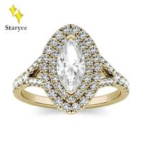 Unique Moissanite Diamond Split Shank Double Halo Engagement Ring Real 18K 750 Yellow Gold Women Lover Wedding Band Jewelry Gift