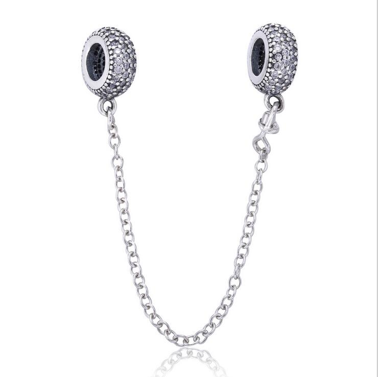 pt230 925 Sterling Silver Clear CZ pave style Simple Safety Chain Beads Fit Original Pandora Bracelet Bangle Jewelry
