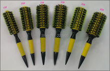 Free Shipping Wooden Hair Brush With Boar Bristle Mix Nylon Styling Tools Professional Round Hair Brush GIC-HB505 (6pcs/set)