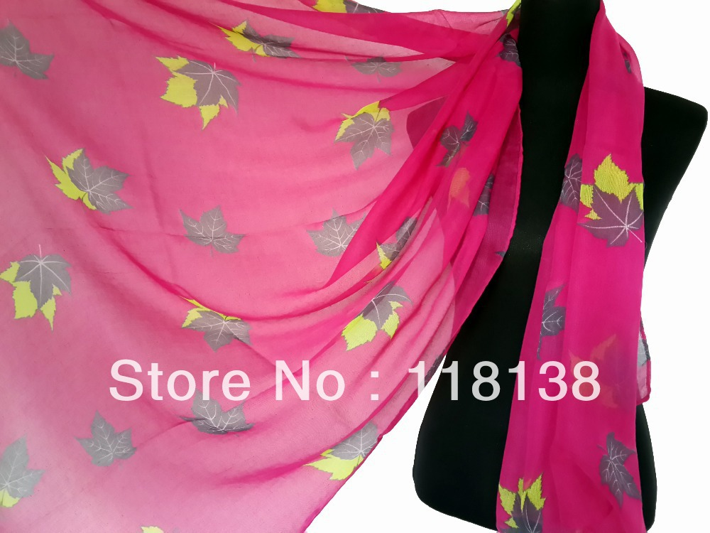 New Fashion Colorful Maple Leaf Print Women s Scarf 180 110cm Free Shipping