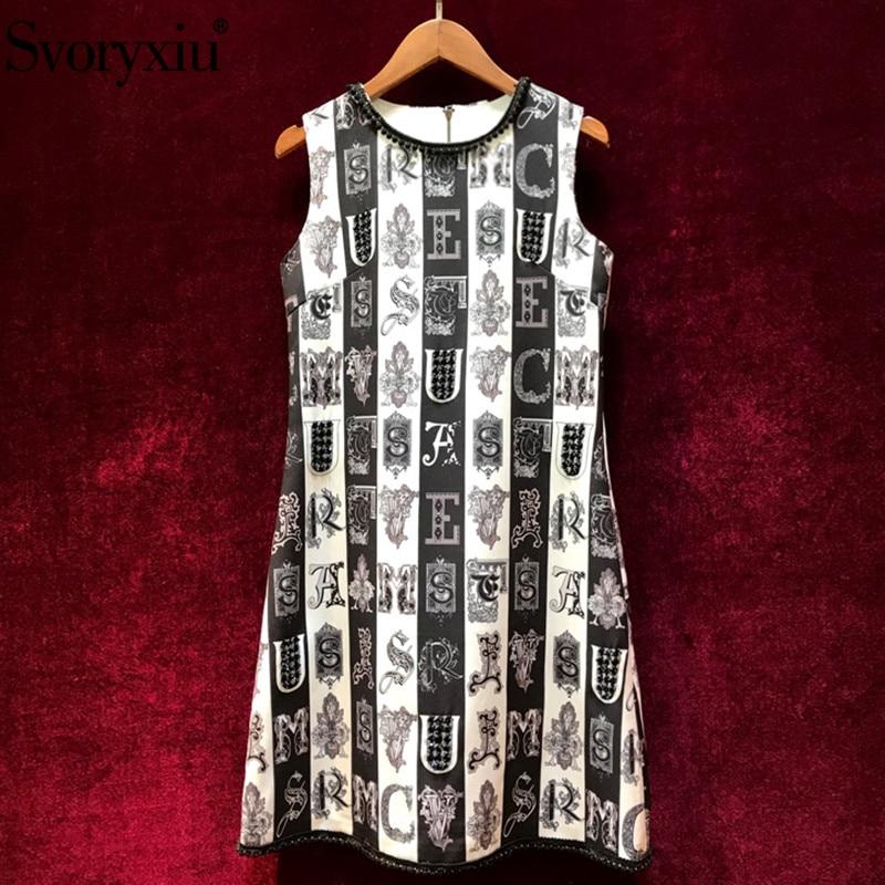 Svoryxiu Runway luxury Beading Summer A Line Mini Dress Women s Modern Black White Stripe letter