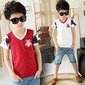 2015 продажи новой детской одежды, Мальчики с коротким рукавом хлопка с v-образным вырезом футболка летние детские мода топы белый и красный бесплатная доставка