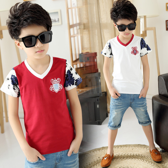 2015 Selling new children's clothing,boys short sleeve cotton V-neck T-shirt Summer baby fashion Tops White and Red FreeShipping
