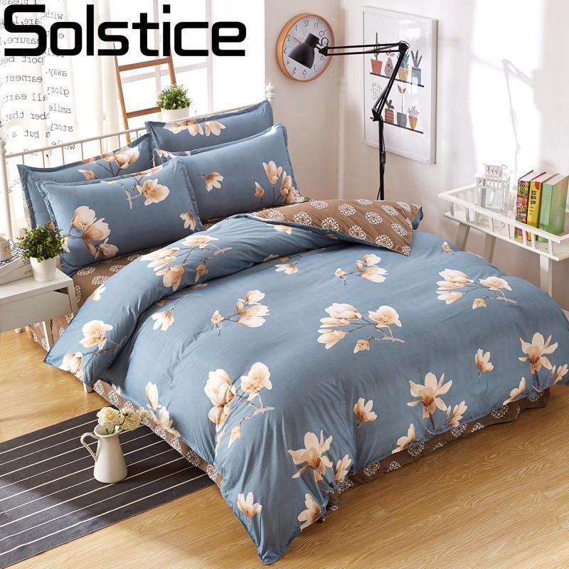 Solstice Bedding-Kit Bed-Sheet Fashion Pillowcases Duvet-Cover Flowers Plaid Geometric-Pattern