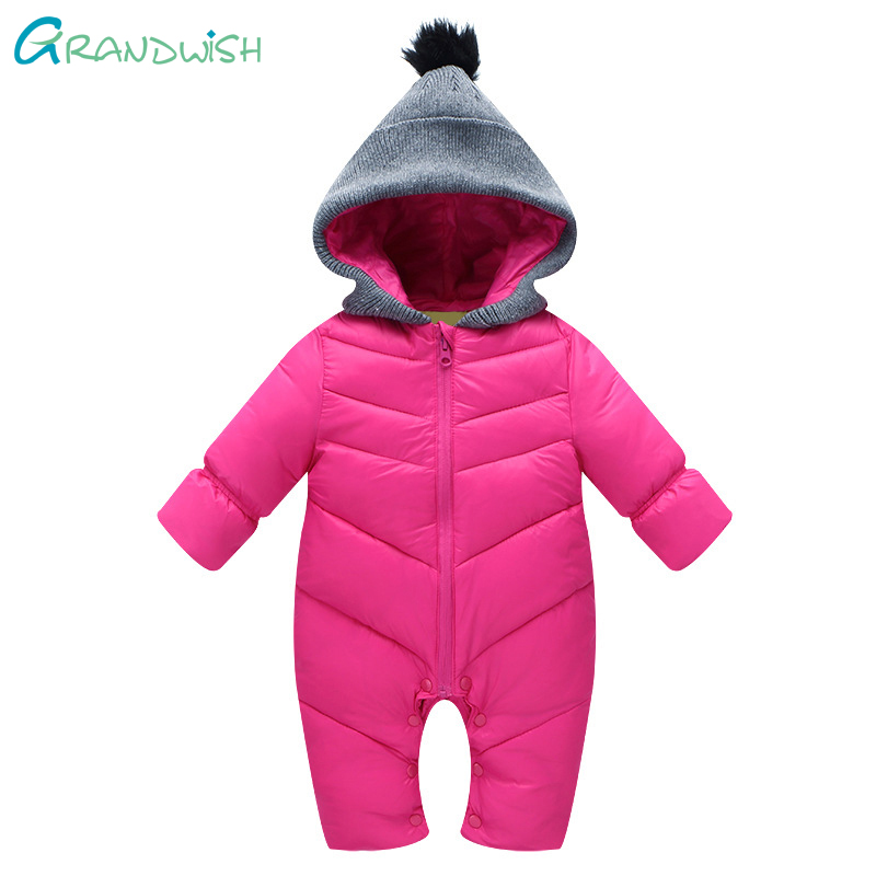 Grandwish Baby Hooded Rompers Long Sleeve Jumpsuit Children Winter Clothing Baby Cotton Suit Boy Coverall Clothing 3M-24M,SC754 warm thicken baby rompers long sleeve organic cotton autumn