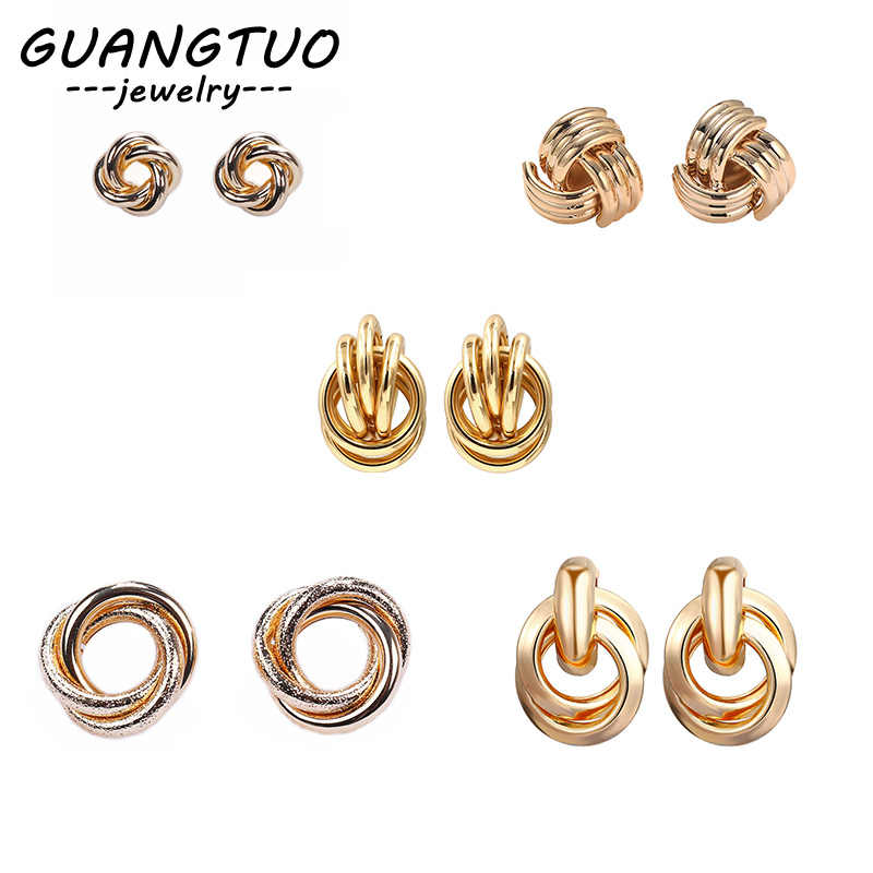5 Designs Trendy Geometric Round Circles Metal Stud Earrings For Women Simple Gold & Silver Color Ear Stud Brincos Jewelry Gift