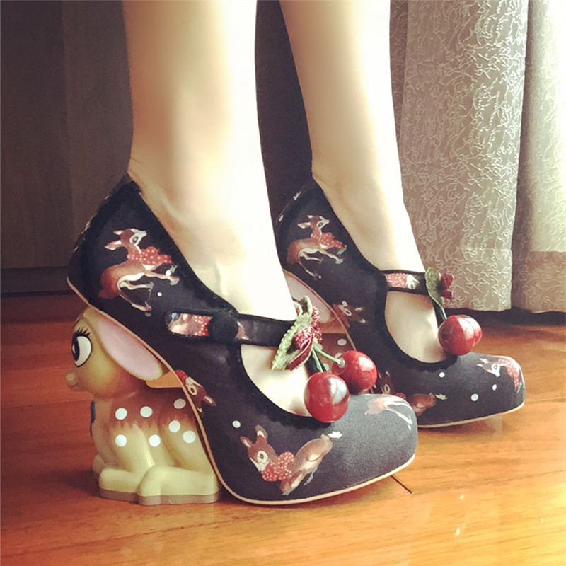 Mary Janes Platform Pinting Heels Us88 Shoes Woman Heel Cute In Pumps 44 Deer 2019 Stiletto Women High jady Valentine Design 33Off Rose 2IDHE9