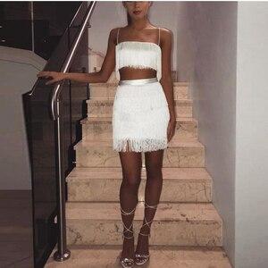 Image 4 - Newasia 庭ツーピースセット夏フリンジ 2 個セット女性クロップトップとスカートセットな衣装女性マッチングセット