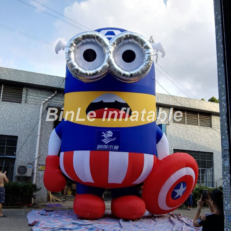 Hot sale giant captain American style inflatable minion cartoon figure with targe for outdoor promotion